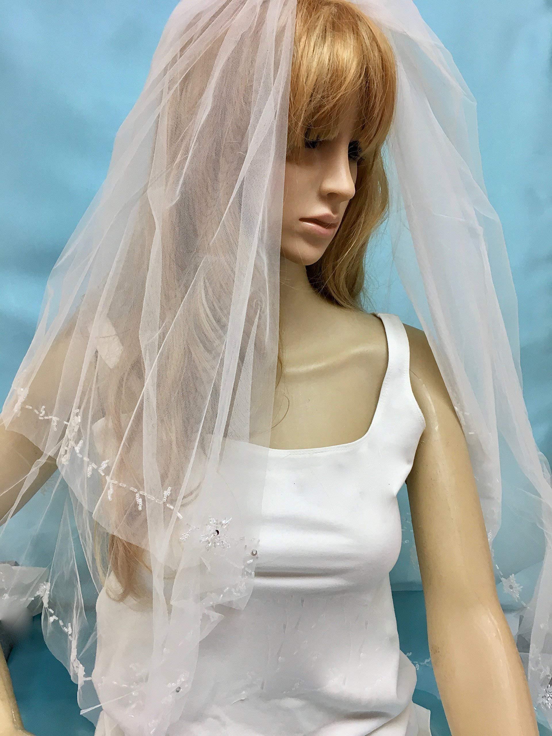 Bridal Wedding Beaded Veil, Two Tier Bridal Veil