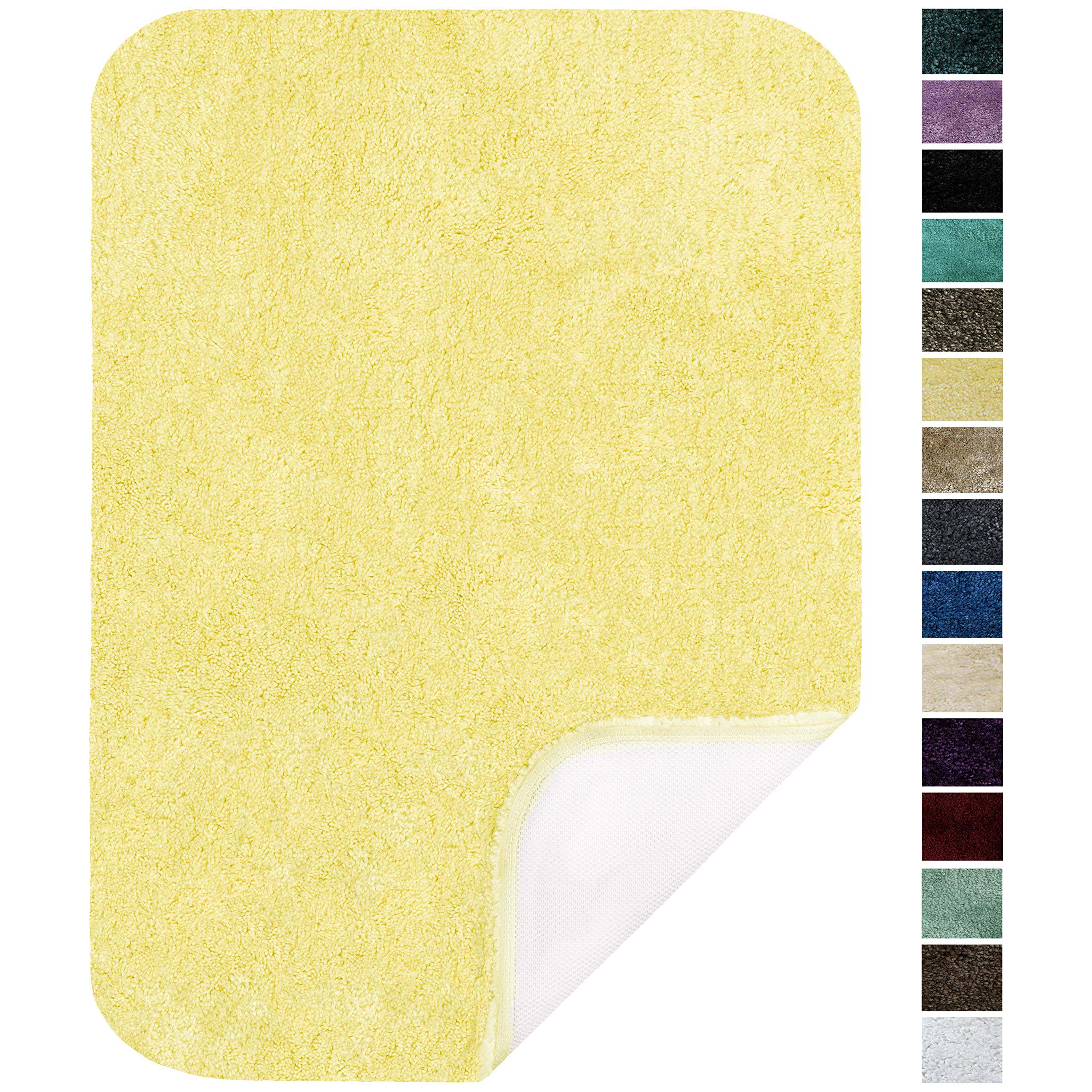 Maples Rugs Bathroom Rugs - Colorsoft 20'' x 34'' Non Slip Washable Bath Mat [Made in USA} Soft & Quick Dry for Vanity and Shower Lemon Ice