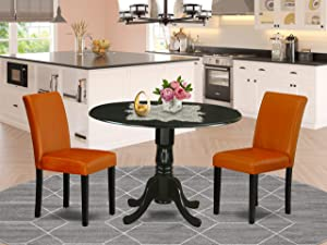 "East West Furniture 3Pc Round 42"" Dining Room Table With Two 9-Inch Drop Leaves And 2 Parson Chair With Black Leg And Pu Leather Color Baked Bean, 3"