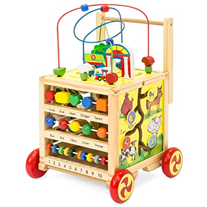 Best Choice Products 5 In 1 Educational Wooden Toy Bead Maze Learning Activity Cube Set