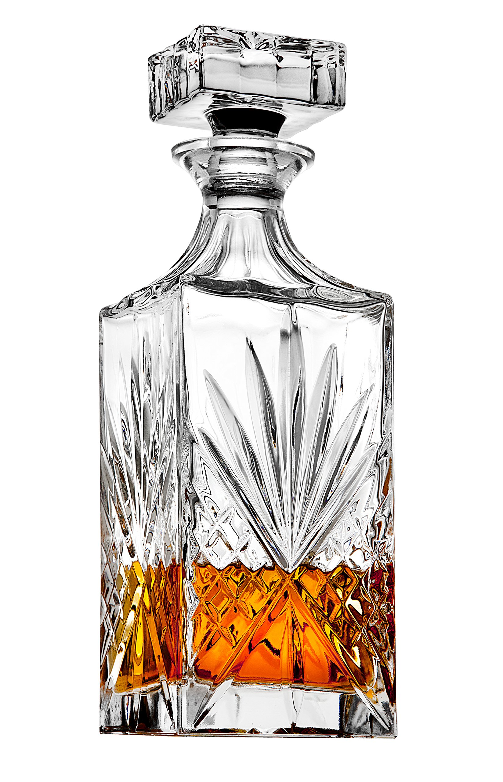 Crystal Whiskey Decanter For Liquor, Bourbon, Wine or Brandy - Irish Cut 750ml