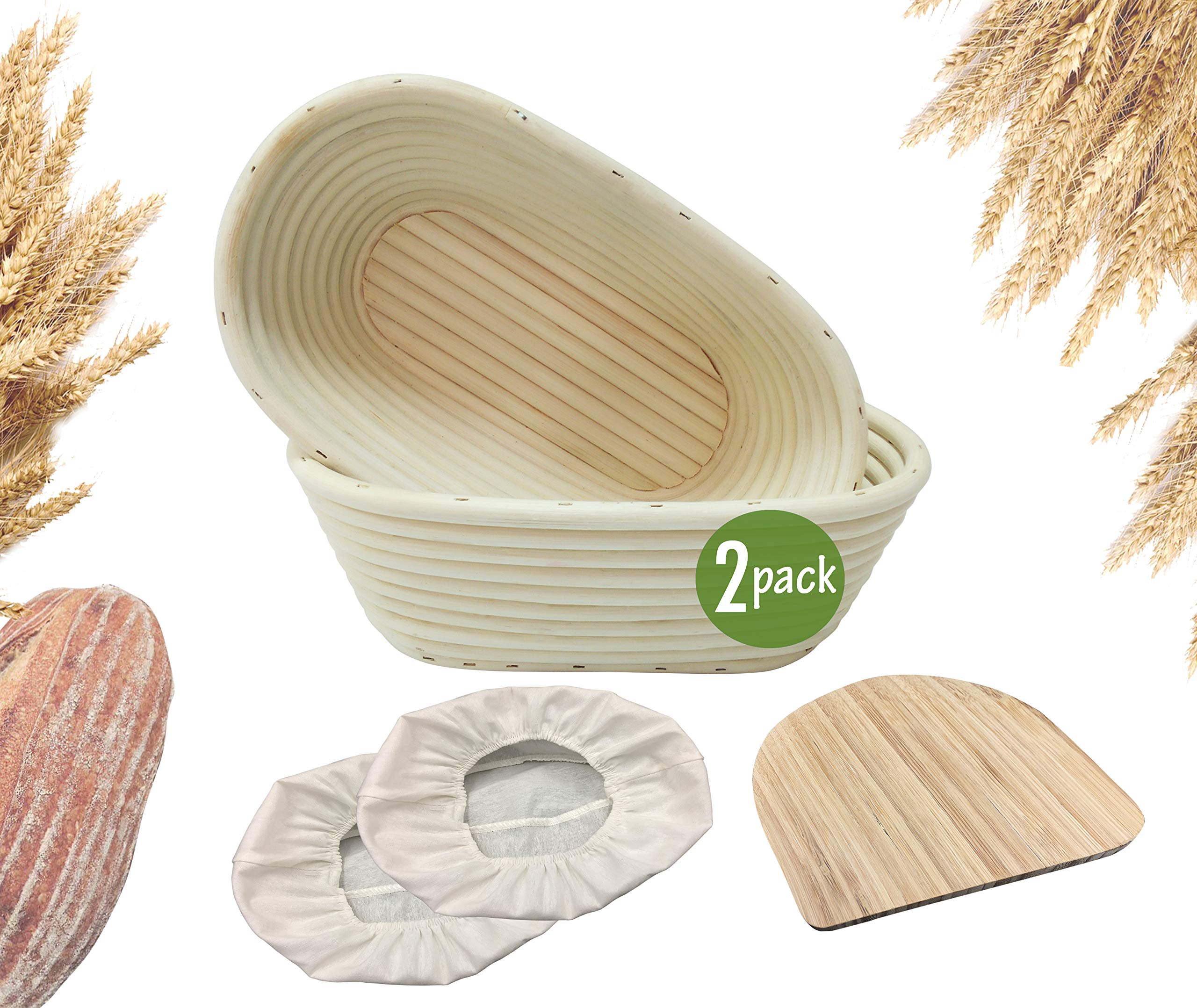 10 inch Oval Banneton Bread Proofing Basket Set of 2 for Sourdough Bread| Natural Rattan Cane Sourdough Proofing Basket with Bamboo Dough Scraper & Cloth Liner| Food-Safe Brotform Bread Proofing Bowls by Made Terra