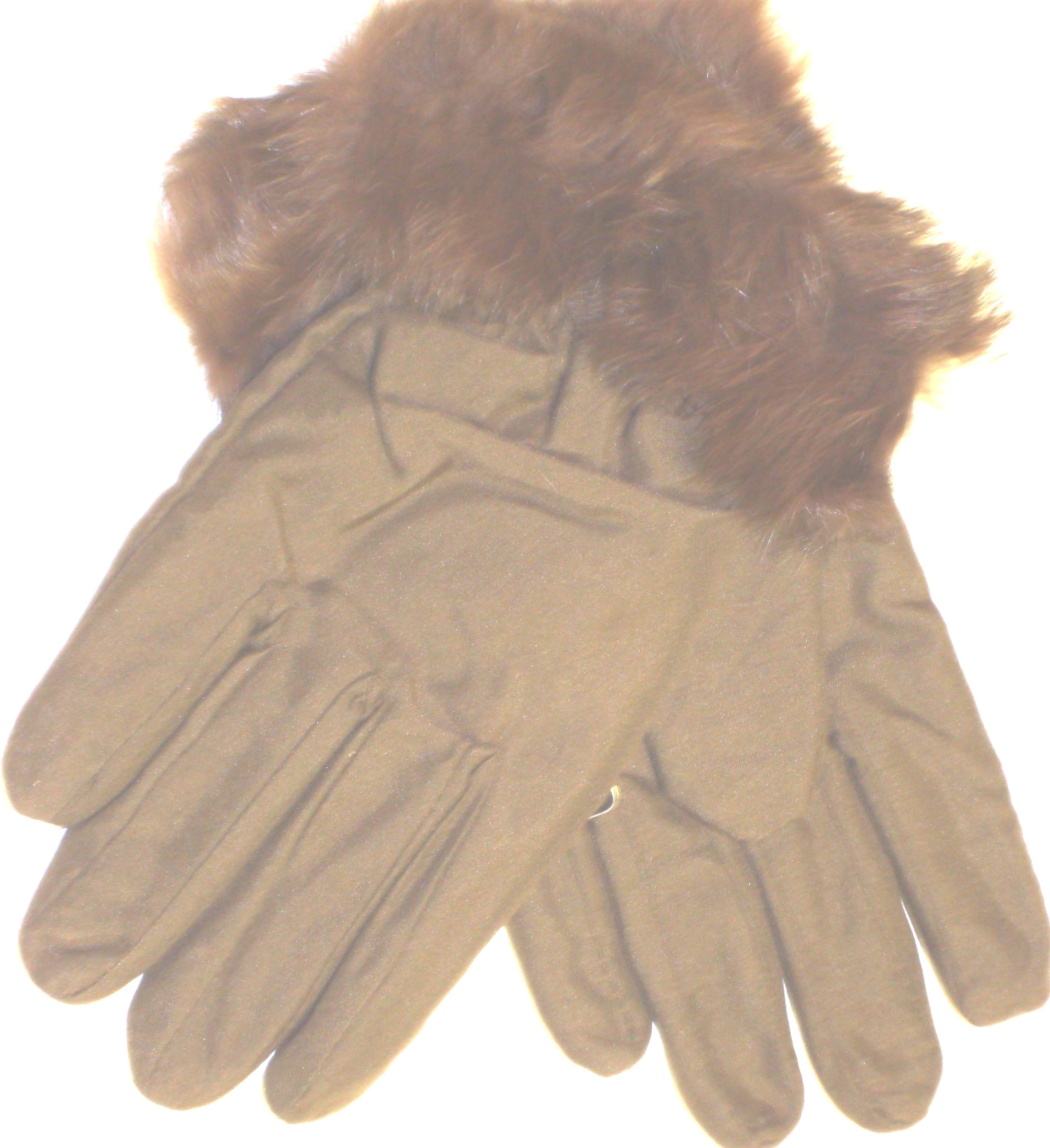Dypel High Tech Waterproof Microfiber Lined Light Brown Color Luxurious Looking Ski Gloves Hand Trimmed with Fine Rabbit Fur for Women and Teens (Med/Large) *