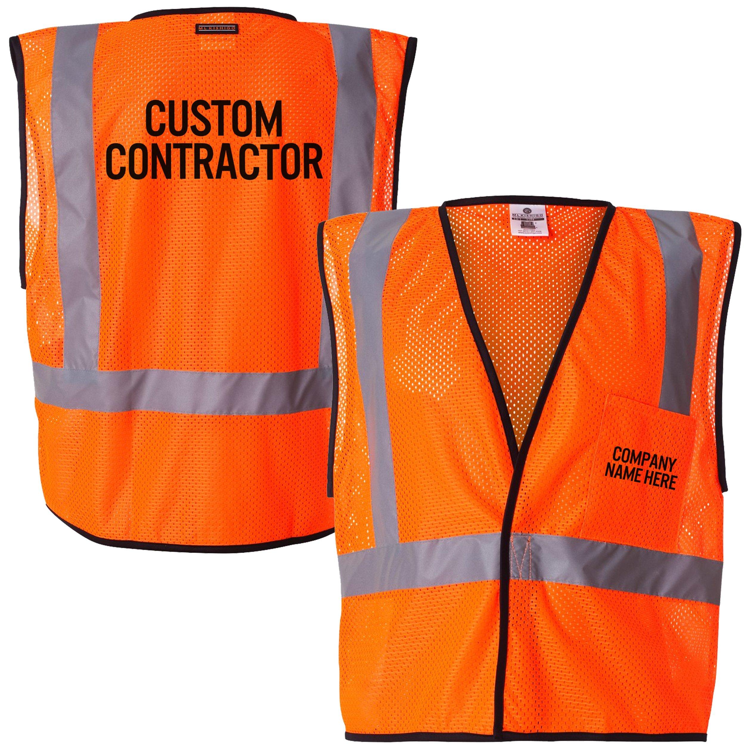 Custom Kamal Ohava Personalized Mesh Reflective Safety Vest, Orange, 2X/3X