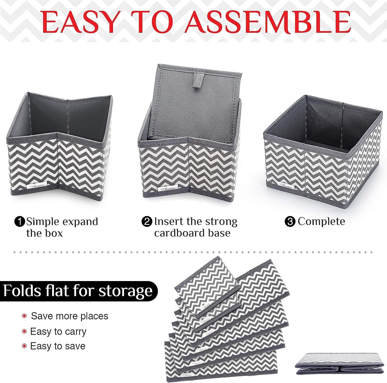 Cajas de almacenamiento plegables para calcetines Anayra Juego de 6 separadores de cajones organizadores de cajones plegables para el hogar//oficina corbatas armarios camisas