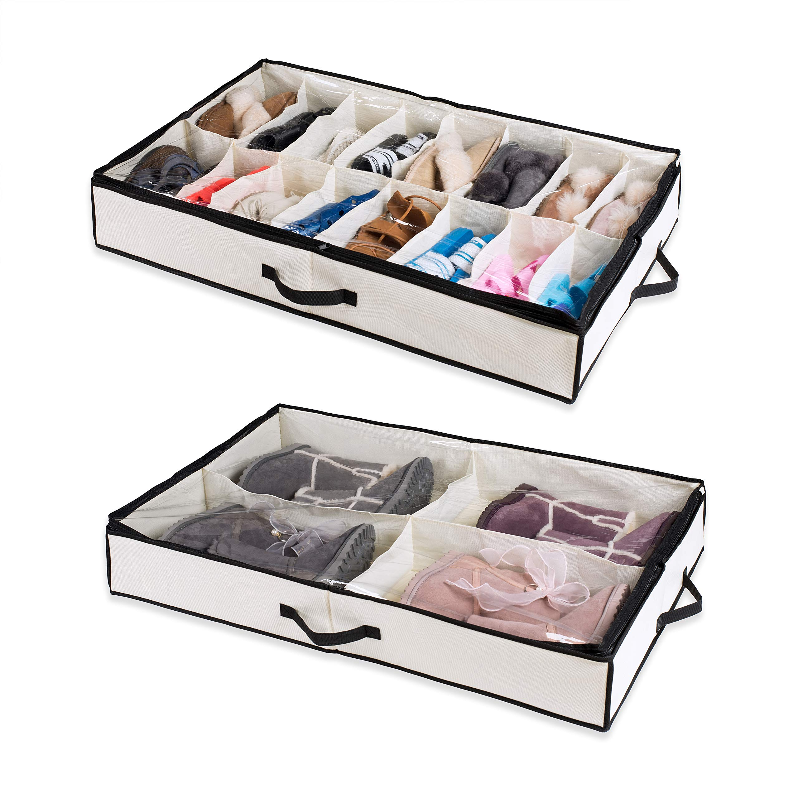Woffit Under The Bed Shoe Organizer Fits 16 Pairs + 4 Pairs Boots - Sturdy & Breathable Materials - Underbed Storage Solution for Kids Men & Women Shoes - Great Space Saver for Your Closet! by Woffit