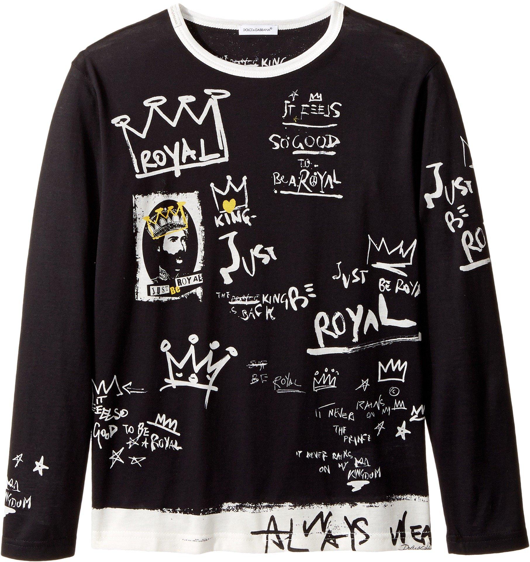 Dolce & Gabbana Kids Boy's Royal T-Shirt (Big Kids) Black 10 by Dolce & Gabbana