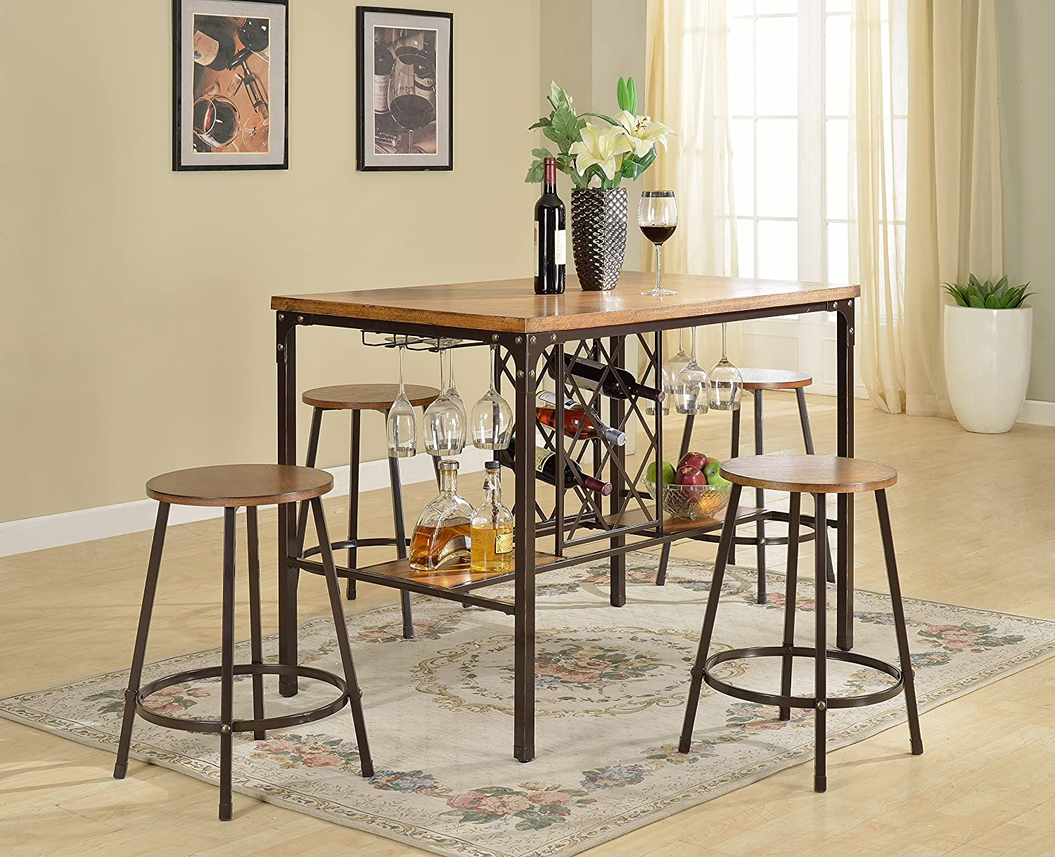 Amazon Com Baxton Studio Vintner Pub Set 30 1l X 48 1w X 36 5h Black Brown Furniture Decor
