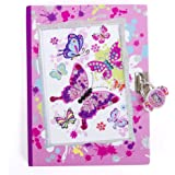 """Hot Focus Butterfly Secret Diary with Lock – 7"""" Journal Notebook with 300 Double Sided Lined Pages, Padlock and Two Keys for Kids"""
