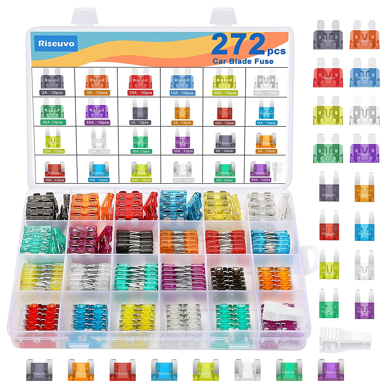 272pcs Automotive Car Fuses Kit - Auto Blade Fuse Assortment Set, Mini Fuse, Low Profile Mini Fuses and Standard Fuse (2 5 10 15 20 25 30 35AMP)