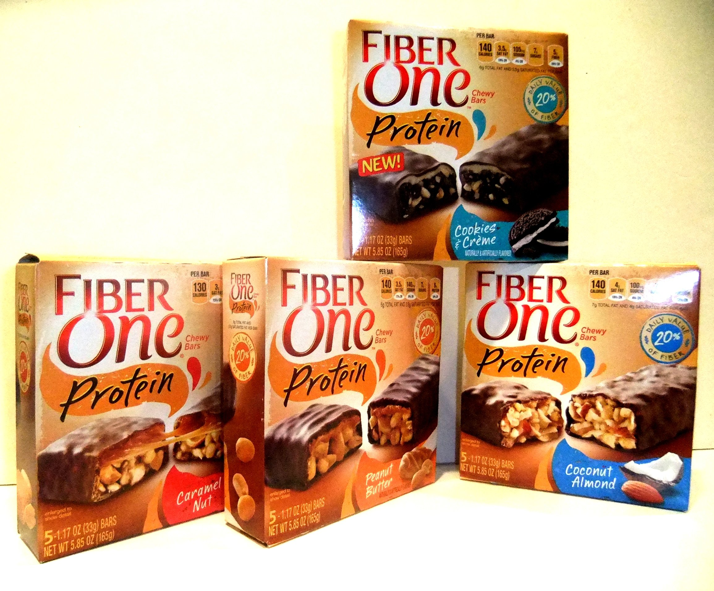 Fiber One Protein Chewy Bars, Cookies & Creme, Peanut Butter, Coconut Almond, Caramel Nut (Variety Pack of 4)