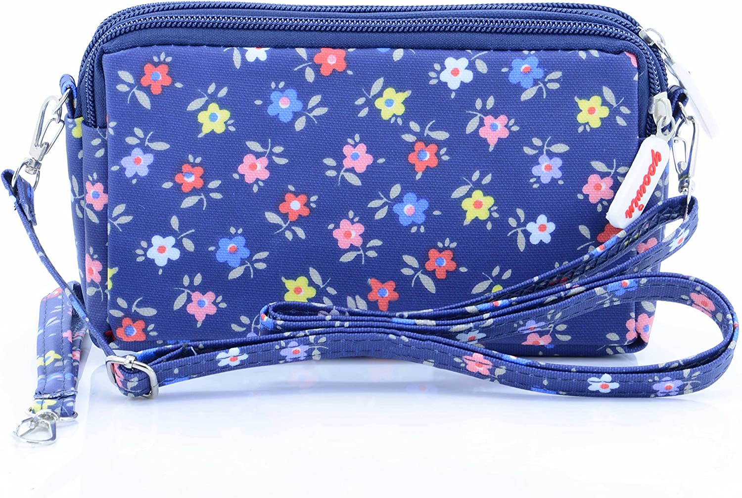 Light Blue liangdongshop Leisure Style Solid Color Nylon Multi-layer Wristlets Clutches Cell Phone Bag Wallet Pouch