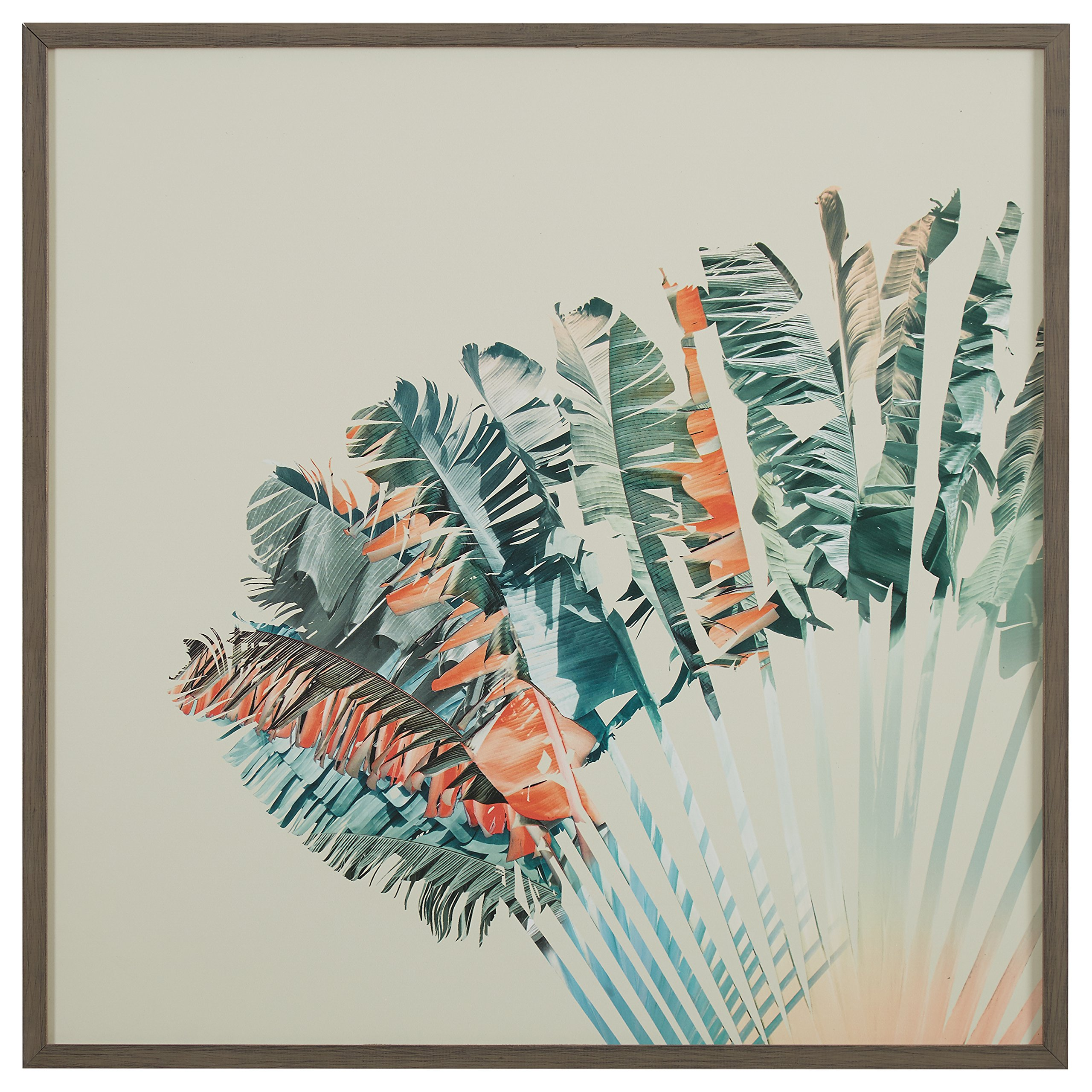 Modern Turquoise and Orange Feather Print in Grey Frame, 30'' x 30''