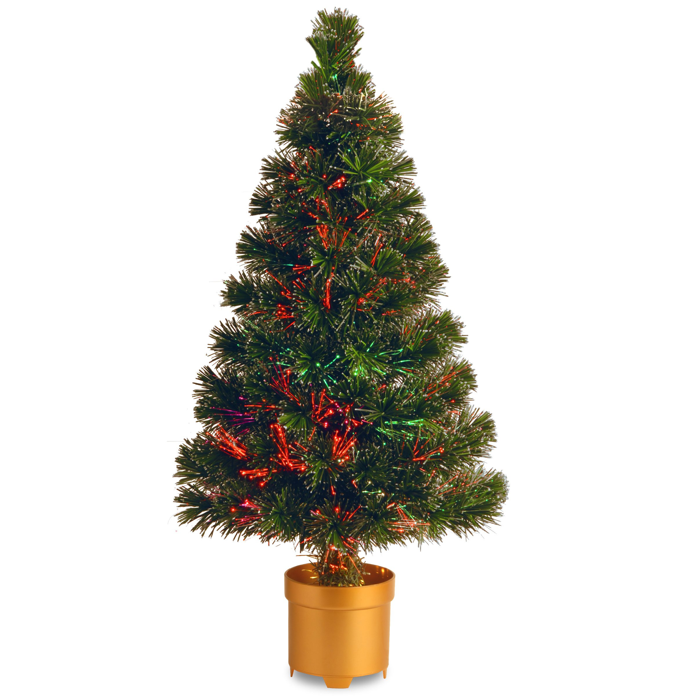 National Tree 32 Inch Fiber Optic Evergreen Firework Tree with Multicolor Lights in Gold Base (SZEX7-100L-32-1)