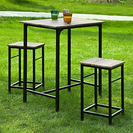 Haotian Sling High Bistro Set,Home Kitchen Outdoor Garden Bar Set,Patio  Furniture,