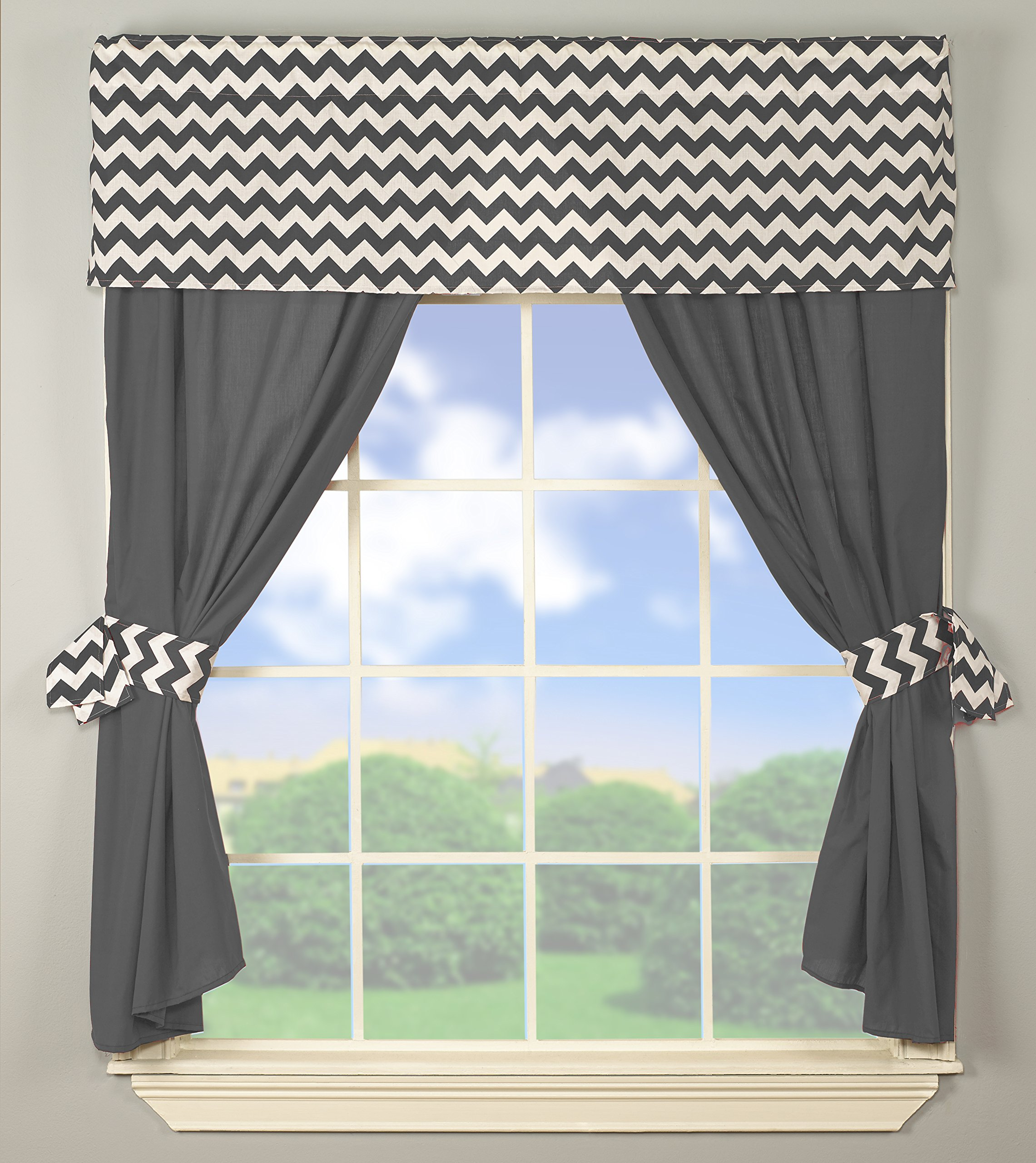 Baby Doll Bedding Chevron Window Valance and Curtain Set, Grey by BabyDoll Bedding