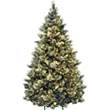 National Tree Company Pre-lit Artificial Christmas Tree | Includes Pre-strung White Lights and Stand | Flocked with…