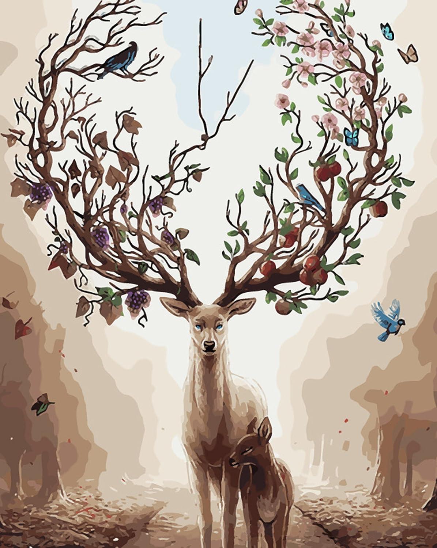 Cerfs 16 * 20 Pouces WATAKA Peinture par Num/éros Peinture /à lhuile de Bricolage sur Toile avec Cadre en Bois Cadeau Id/éal pour Adultes et Enfants