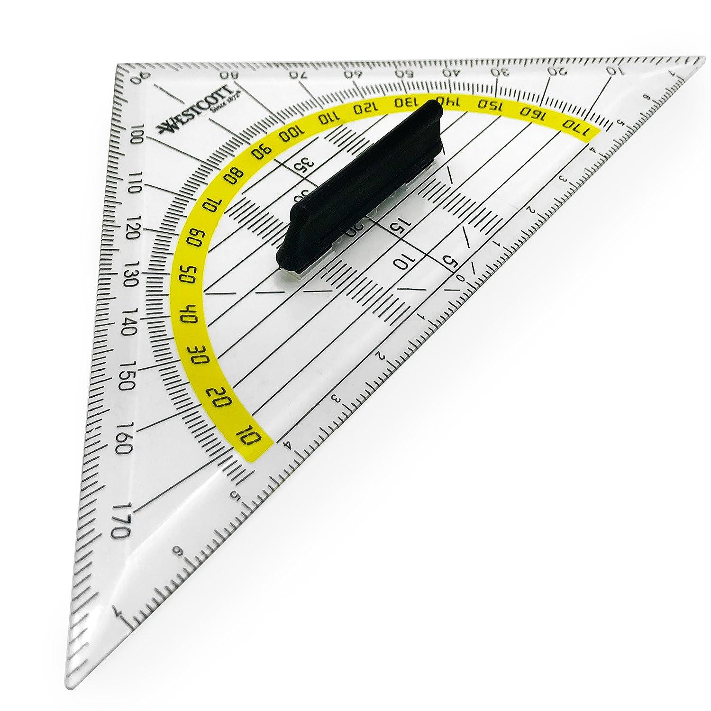 Westcott set Square–bidirezionale scala con manico rimovibile, colore: Trasparente, con accento giallo–14cm–e-10133