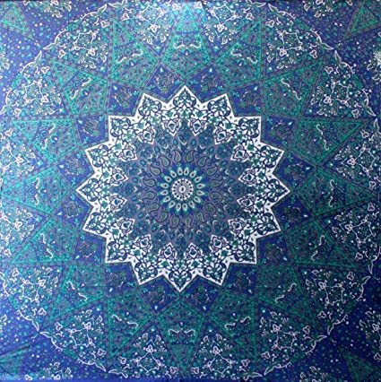 Blue Star Hippie Wall Mural Mandala Tapestry