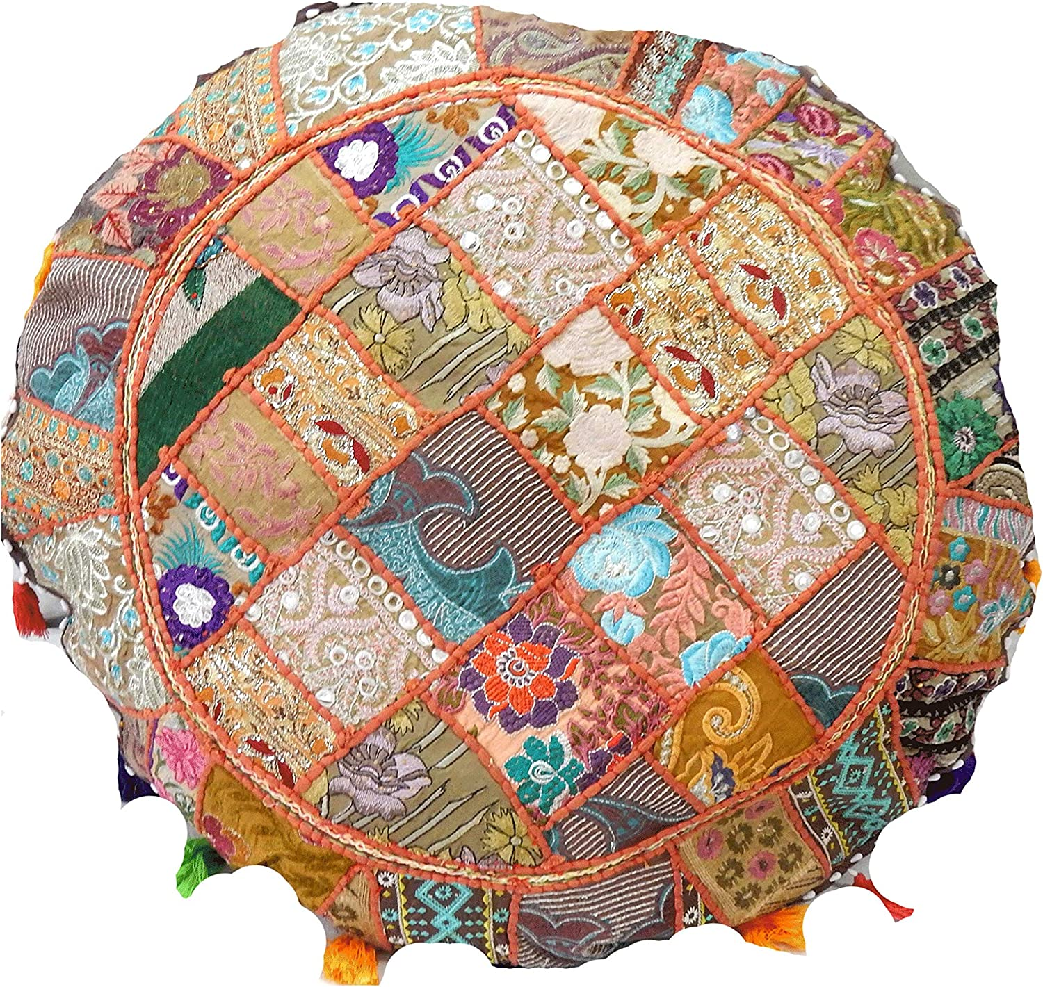 Floor Embroidered Pillow Cushion Round Meditation Cover Indian Patchwork Covers