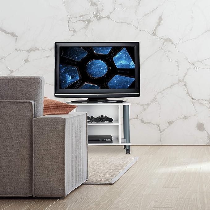 Relaxdays Mueble TV con Ruedas, Mesa televisión con 2 Compartimentos, Tablero de Partículas, 45 x 60 x 40 cm, Blanco y Plateado: Amazon.es: Hogar