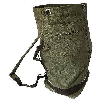 15ebebd509dc 帆布 リュック バッグ ミリタリー 調 キャンバス 地 ダッフル 内ポケット 付 (アーミーグリーン)