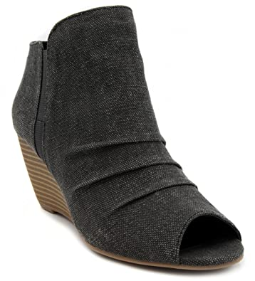 Womens Krenza Peep Toe Ankle Boot Wedge Bootie