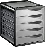 "Rotho 1106500096 Schubladenbox Bürobox Spacebox aus Kunststoff (PS), 5 geschlossene transparente Schübe, A4-Format, circa"" 33 x 28.5 x 32 cm, Anthrazit/Transparent Bürobox, Plastik"