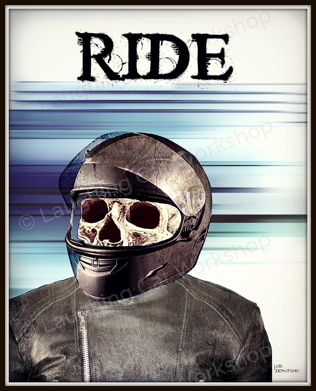 Amazon com biker poster skull print hipster skull art motorcycle