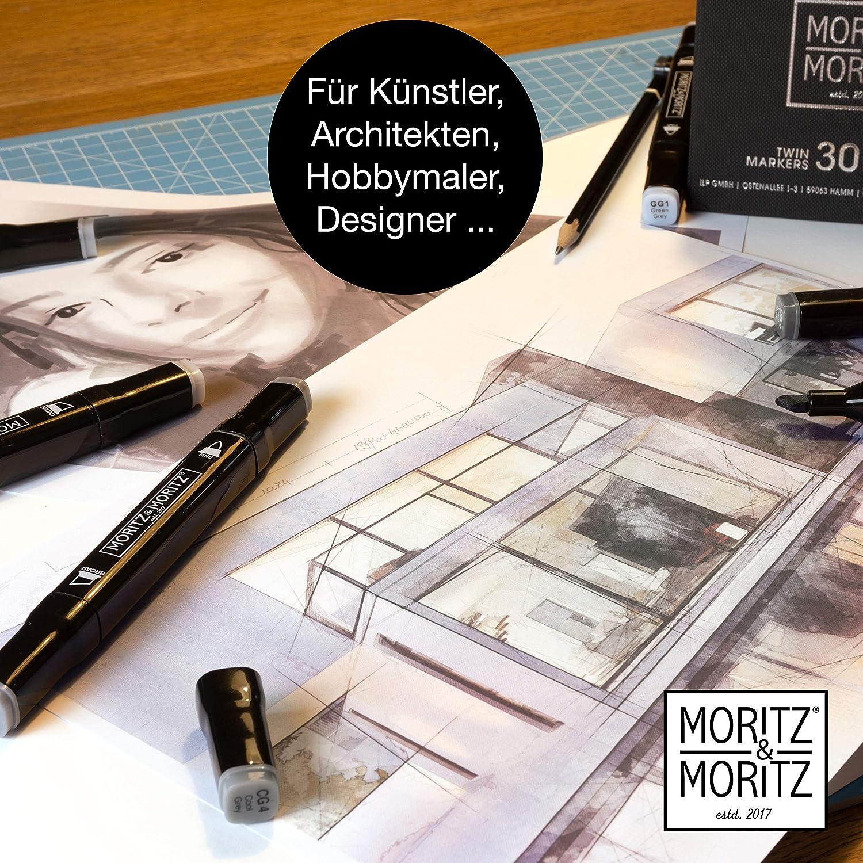 le dessin Moritz /& Moritz 30 Feutre Alcool Twinmarker Tons de Grise la mise en page Feutre a Alcool pour lesquisse la peinture