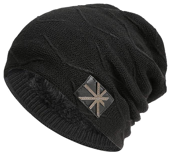 JNINTH Winter Beanie Hats Knitting Thick Slouchy Skull Cap for Men Women  (Black) a6a76d981e46