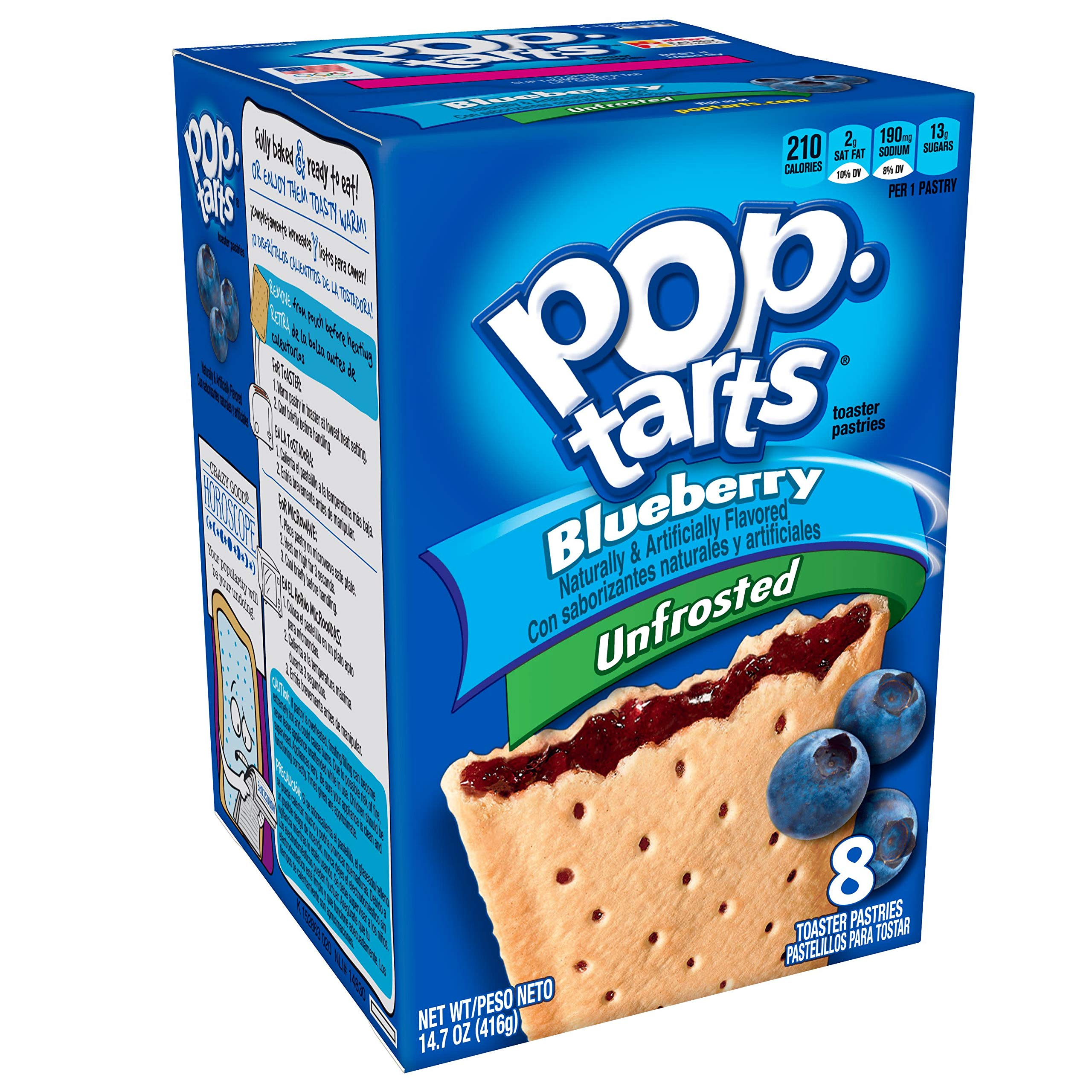 Pop-Tarts Breakfast Toaster Pastries, Unfrosted Blueberry, Bulk Size, 96 Count (Pack of 12, 14.7 oz Boxes)