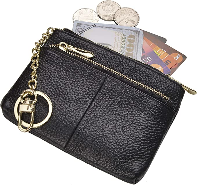 Beurlike Womens RFID Coin Purse Change Wallet Small Leather Card Holder Keychain