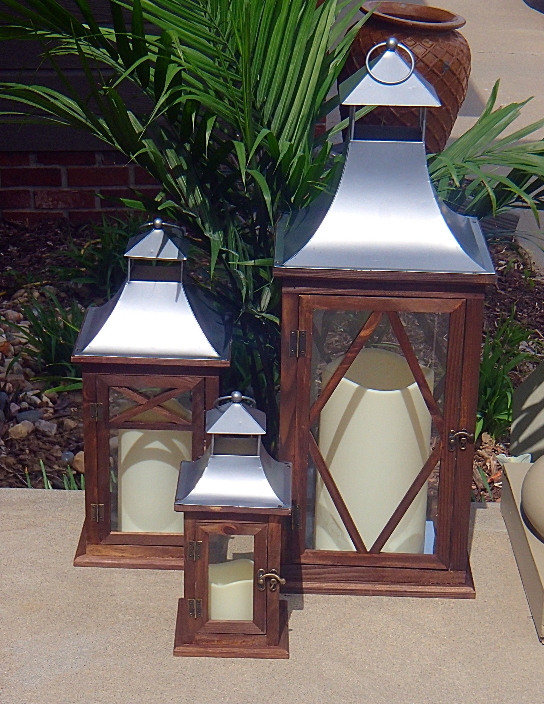 Pebble Lane Living 3pc Large Outdoor Wood Lanterns with Candles