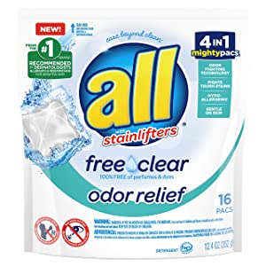 All Mighty Pacs Laundry Detergent, Free Clear Odor Relief Pouch, 16 Count