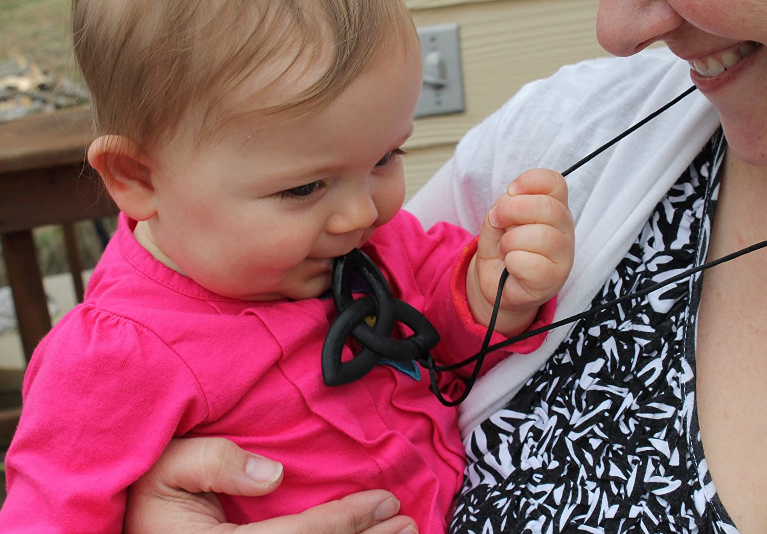 Black Peacemaker Jewelry Trinity Knot Silicone Teething Pendant Necklace