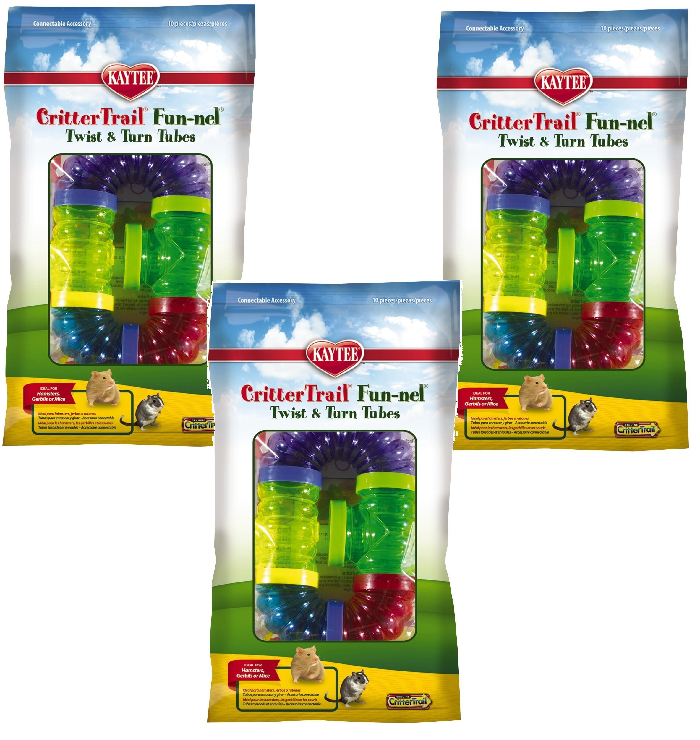 (3 Packages) Kaytee CritterTrail Fun Twist and Turn Value Pack, Colors Vary by Kaytee