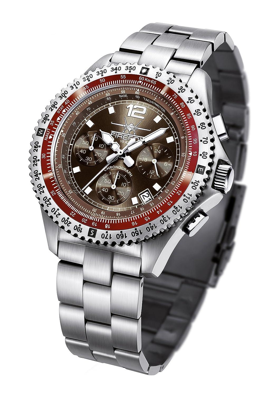 FIREFOX FIGHTER FFS05-106 sunray coffee Chronograph Herrenuhr Armbanduhr massiv Edelstahl Sicherheitsfaltschlie