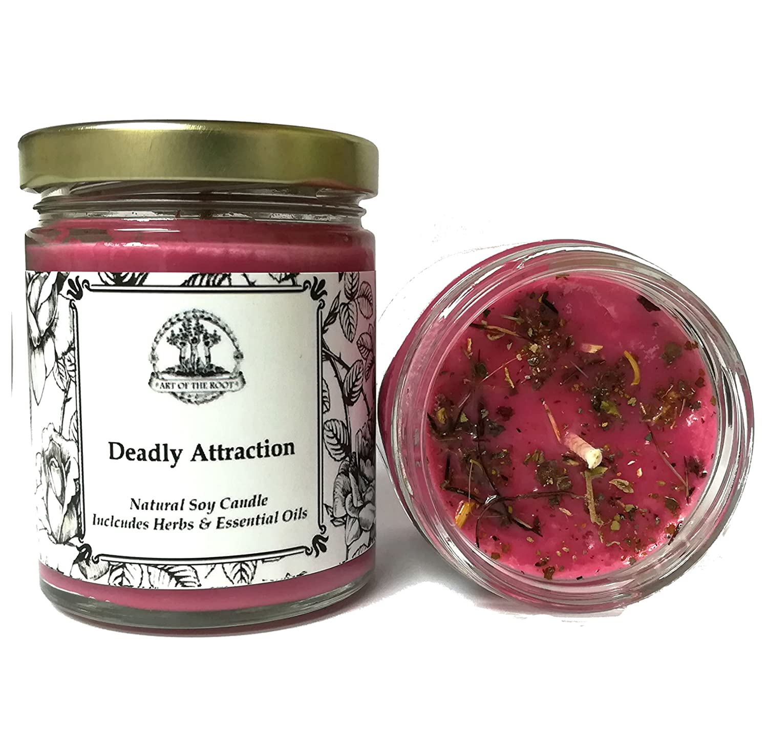 Deadly Attraction 8 oz Soy Herbal Spell Candle Seduction, Passion, Lust & Attraction Hoodoo Wiccan Pagan Conjure Art of the Root Ltd.