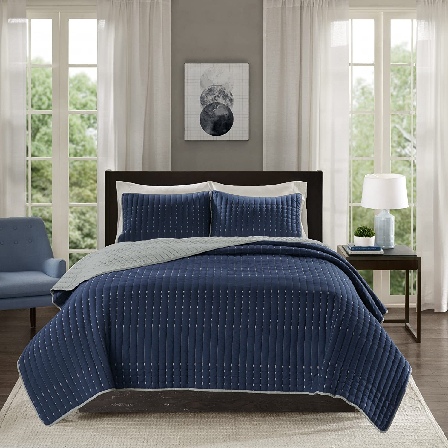 Comfort Spaces Bayley Reversible Embroidery Stitched 3 Piece Quilt Coverlet Bedspread Bedding Set, King, Navy