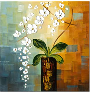 Wieco Art   Beauty Of Life 100% Hand Painted Modern Flower Artwork Abstract  Floral