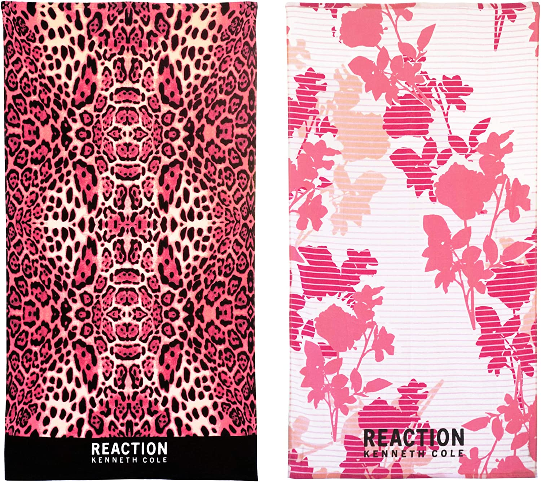 Kenneth Cole REACTION USHSB91153583 Cole REACTION Leopard/Millie 2 Piece Beach Towel Set, 68 x 36, Assorted