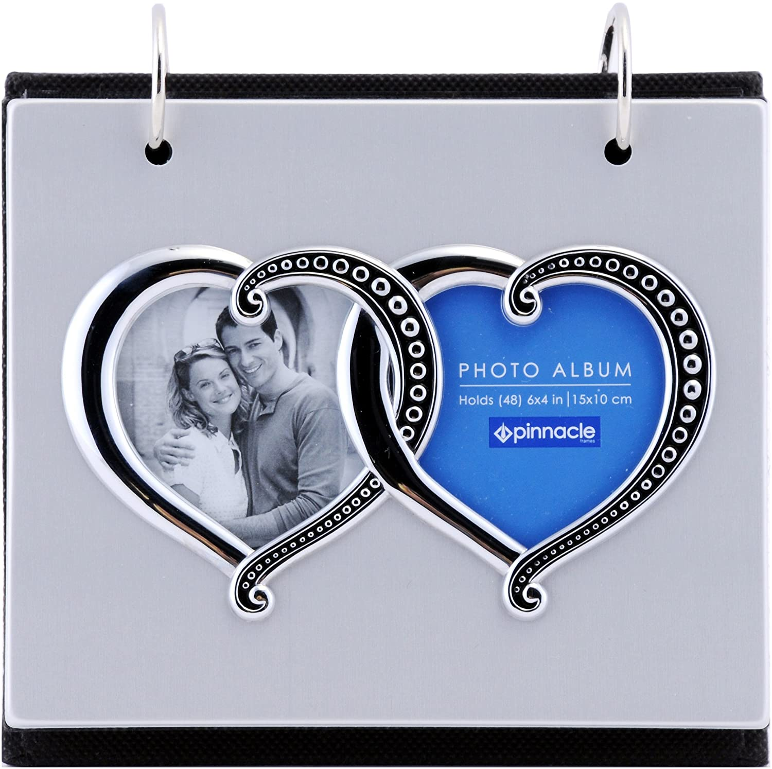 Pinnacle Frames and Accents Silver Metal Double Heart Flip 50-Pocket Photo Album NBG Home 06FF891