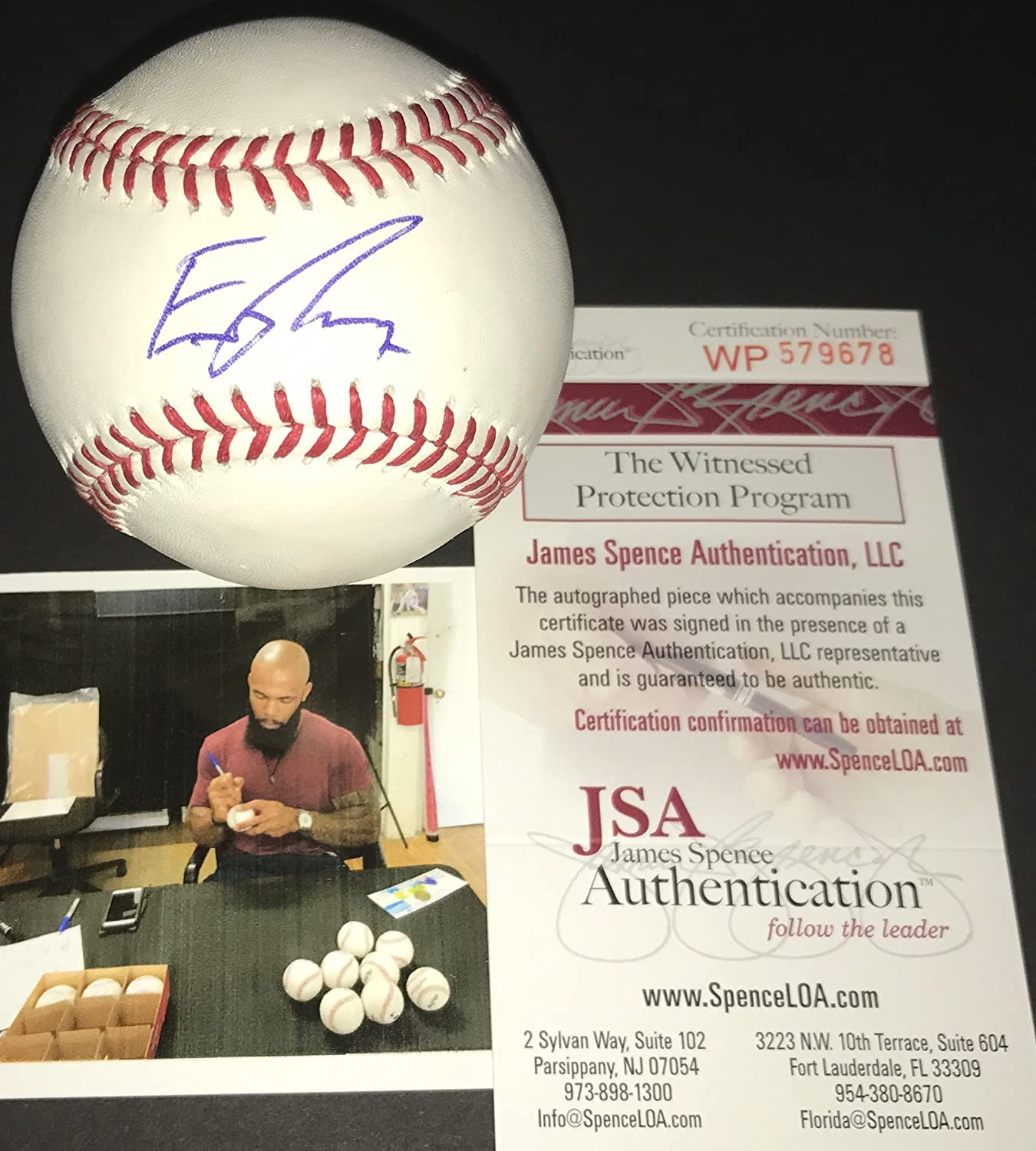 Eric Thames Milwaukee Brewers Autographed Signed Official Major League Baseball JSA WITNESS COA SidsGraphs