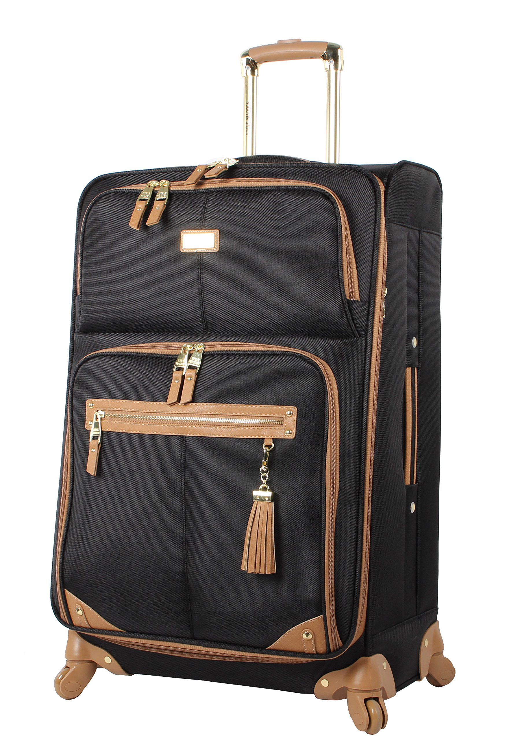 Steve Madden Luggage Large 28'' Expandable Softside Suitcase With Spinner Wheels (28in, Harlo Black)