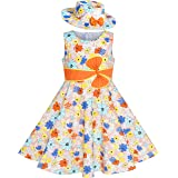 Sunny Fashion 2 Pecs Girls Dress Hat Flower Summer Party Holiday Princess Child