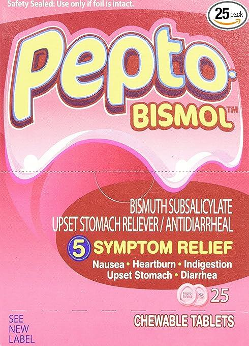 Pepto-Bismol BXPB25 Tablets, Two-Pack, 25 Packs/Box