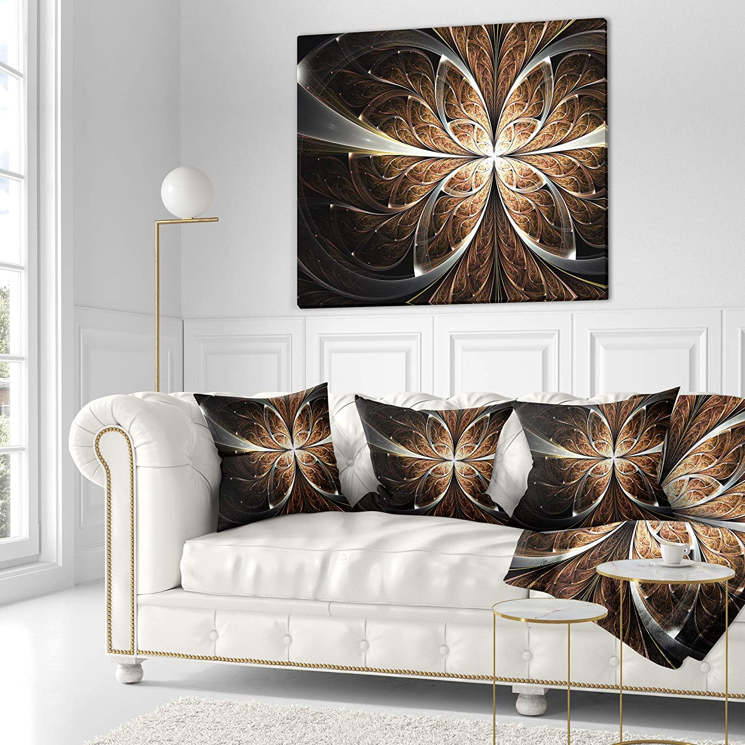 Sofa Throw Pillow 26 in Designart CU11815-26-26 Fractal Flower Brown Black Digital Art Floral Cushion Cover for Living Room in Insert Printed On Both Side x 26 in
