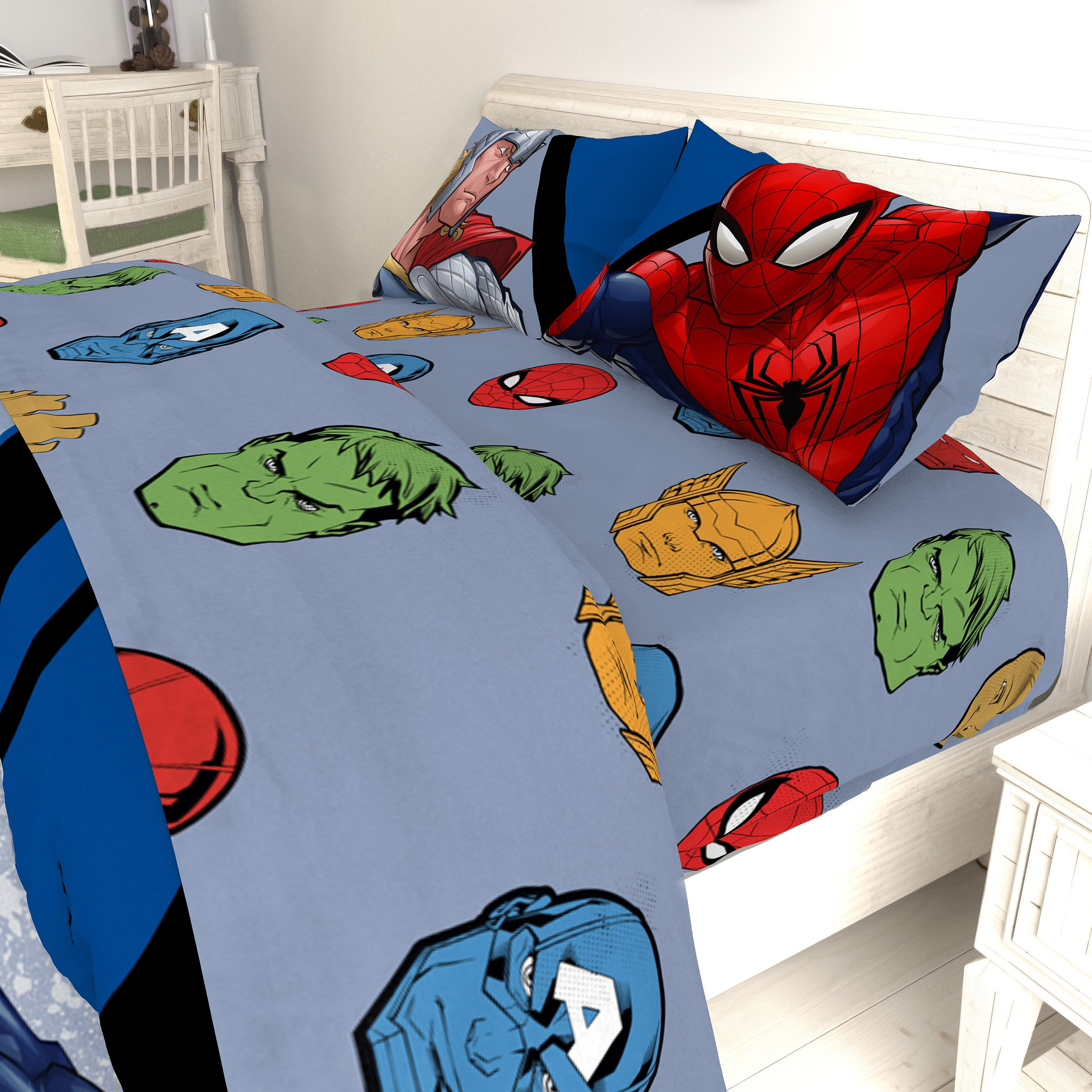 TN 4 Piece Kids Grey Avengers Themed Sheet Set Full Sized, Green Hulk Bedding Spiderman Captain America Superhero Pattern Gray Color Red Brown Yellow, Polyester